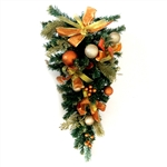 Holiday Adorned Garland Teardrop Swag - Gold and Copper - ALEKO