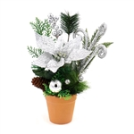 Decorative Christmas Centerpiece Holiday Arrangement - Green and Silver - ALEKO