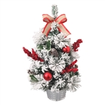 Miniature Tin Christmas Desk Tree with Burlap Bow - ALEKO