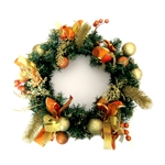 Decorative Holiday Christmas Wreath - Gold and Orange - ALEKO