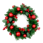 Decorative Holiday Christmas Wreath - Green and Red - ALEKO