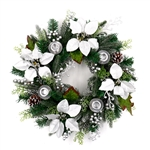 Decorative Holiday Christmas Advent Wreath with 4 Candle Holders - Green and Silver - ALEKO