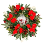 Decorative Holiday Christmas Wreath - Green, Red, and Gold - ALEKO