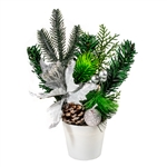 Potted Christmas Centerpiece Holiday Arrangement - White and Silver - ALEKO