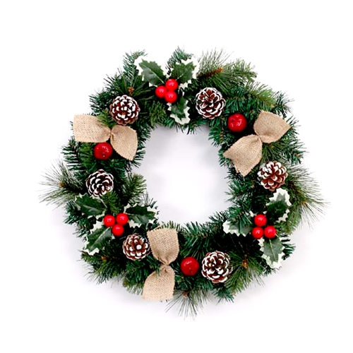 Decorative Holiday Christmas Wreath with Burlap Bows - Green and Red - ALEKO