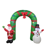 Giant Inflatable Santa and Snowman Holiday Greeting Archway with UL Certified Blower and LED Lights - 8 Foot - ALEKO