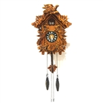 Handcrafted Wooden Cuckoo Wall Clock with Chirping Bird - 10.5 x 9 x 5 Inches - Brown - ALEKO