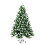 Snow Dusted Artificial Indoor Christmas Holiday Tree with Pine Cones - 7 Foot  - ALEKO