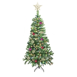 ALEKO® CTD84H300MC 7 Foot (2.1 m) Artificial Christmas Tree With Multicolored 300 LED Lights, Simple Green color