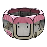 Octagon Pet Playpen Exercise Kennel - 57-Inch - Pink - ALEKO