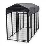 "DK4X8X6RF Dog Kennel 4'x8'x4'8"" (1.2x2.4x1.8 m) Heavy Duty Pet Playpen with Steel Roof Frame and Waterproof Cover"