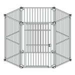 6 Panel Heavy Duty Dog Playpen with Door - 4 x 4 x 4 Feet - ALEKO