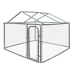 DK7X7X6RF Dog Kennel 7.5 X 7.5 X 6 Feet (2.3 X 2.3 X 1.8 m) DIY Chain Link Box Kennel With Roof Frame