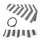 Retractable Awning Fabric Replacement - 20x10 Feet  - Grey and White Striped
