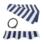 Retractable Awning Fabric Replacement - 6.5x5 Feet - Blue and White Striped - ALEKO
