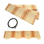 Retractable Awning Fabric Replacement - 6.5x5 Feet - Multi-Stripe Yellow - ALEKO