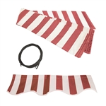 Retractable Awning Fabric Replacement - 6.5x5 Feet - Red and White Stripe - ALEKO