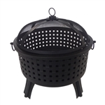 Steel Fire Pit Bowl with Log Grate and Poker - Black - Small - ALEKO