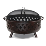 Steel Fire Pit Bowl with Log Grate and Poker 36 Inches - Bronze - ALEKO