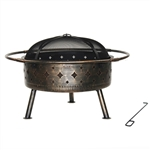Steel Fire Pit Bowl with Log Grate and Poker - Bronze - ALEKO