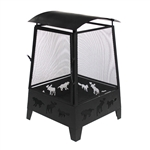 Steel Outdoor Fireplace with Fire Mesh 22 Inches - Black - ALEKO
