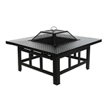 Rectangle Metal Top Fire Pit - 30 Inches - Black
