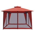 ALEKO GAZM10X10OR Double Roof 10 X 10 Foot (3 X 3 m) Waterproof Polyester Patio Gazebo with Mesh Netting Sun Shade, Solid Orange