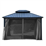 Curtain for Double Roof Aluminum and Steel Hardtop Gazebo - 10 x 12 Feet - Grey - ALEKO