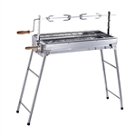 Lightweight Portable Foldable Stainless Steel Charcoal Barbecue Grill with Roasting Bar - ALEKO