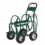 ALEKO GHRC400 Heavy Duty Outdoor Industrial 4 Wheel 400 Foot (121.9 m) Hose Capacity Reel Hose Cart, Green