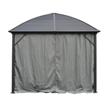 Curtain for Round Roof Aluminum and Steel Hardtop Gazebo - 10 x 10 Feet - Grey - ALEKO