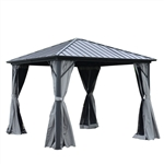 Aluminum and Steel Hardtop Gazebo with Mosquito Net and Curtain - 10 x 10 Feet - Black - ALEKO