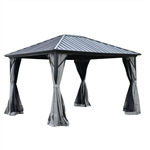 Aluminum and Steel Hardtop Gazebo with Mosquito Net and Curtain - 12 x 10 Feet - Black - ALEKO
