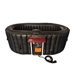 Oval Inflatable Hot Tub Spa With Drink Tray and Cover - 2 Person - 145 Gallon - Black - ALEKO