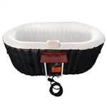Oval Inflatable Hot Tub Spa With Drink Tray and Cover - 2 Person - 145 Gallon - Black and White - ALEKO