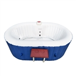 Oval Inflatable Hot Tub Spa With Drink Tray and Cover - 2 Person - 145 Gallon - Dark Blue