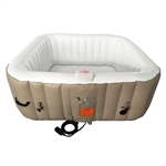 Square Inflatable Hot Tub Spa With Cover - 6 Person - 250 Gallon - Brown and White - ALEKO