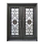 Iron Square Top Sunflower Dual Door with Frame and Threshold - 62 x 81 Inches - Aged Bronze - ALEKO