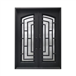 Iron Square Top Modern Dual Door with Frame and Threshold - 72 x 96 Inches - Matte Black - ALEKO