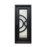 Iron Square Top Semi-Circle Design Single Door with Frame and Threshold - 96 x 40 x 6 Inches - Matte Black