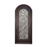 Iron Round Top Twisted Vines with Frame and Threshold - 40 x 96 Inches - Aged Bronze - ALEKO