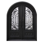 Iron Round Top Dimensional-Panel Dual Door with Frame and Threshold - 62 x 81 Inches - Matte Black - ALEKO