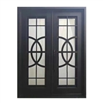 Iron Square Top Curvature-Designed Dual Door with Frame and Threshold - 96 x 72 x 6 Inches - Matte Black