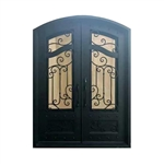 Iron Arched Top Dimensional-Panel Dual Door with Frame and Threshold - 81 x 62 x 6 Inches - Matte Black