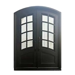 Iron Arched Top Glass-Panel Dual Door with Frame and Threshold - 92 x 72 x 6 Inches - Matte Black