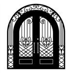 Iron Grand Ornamental Dual Door with Arched Frame and Threshold - 96 x 108 x 6 Inches - Matte Black - ALEKO