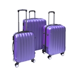 ALEKO 3-Piece Purple ABS Luggage Travel Suitcase Bag Set With Lock