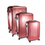 ABS Luggage Travel Suitcase Set with Lock - 3 Piece - Embossed Stripe - Burgundy - ALEKO