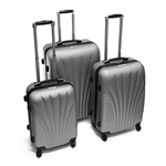 ABS Luggage Travel Suitcase Set with Lock - 3 Piece - Art Deco Pattern - Silver - ALEKO