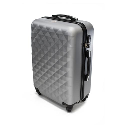 c725364b49cb ALEKO® ABS Luggage Travel Suitcase Set with Lock - 3 Piece - Diamond  Pattern - Silver